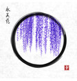 wisteria hand drawn with ink in black enso zen vector image vector image