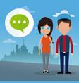 couple dialog bubble social media urban background vector image