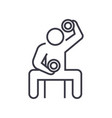 bodybuilder holding dumbell linear icon sign vector image