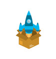 box with technology rocket out side vector image