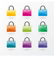 brightly colored shopping bags icons vector image