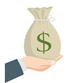 businessman hand holding a bag money vector image vector image