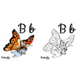 butterfly alphabet letter b coloring page vector image vector image