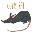 cartoon cute black rat icon vector image