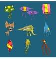 cartoon funny monsters set vector image vector image