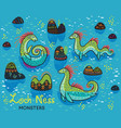 cartoon loch ness monsters and decorative hills in vector image vector image