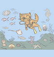 cat diver hunting for fish vector image