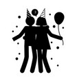 celebration pose of man and woman friendly hugging vector image vector image