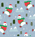 christmas seamless pattern with polar bear ice vector image