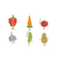 cute happy vegetable characters set pepper vector image vector image
