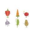 cute happy vegetable characters set pepper vector image