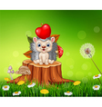 Cute little hedgehog sitting in the beautiful gras vector image vector image