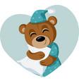 cute teddy bear hugging pillow ready for sleep vector image