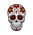 day of the dead skull sugar flower tattoo vector image vector image