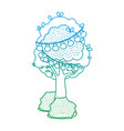 degraded line tree with branch leaves and bulbs vector image vector image