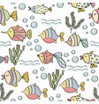 doodle seamless pattern with fishes vector image