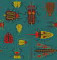 folk art seamless pattern with bugs vector image vector image