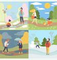 four seasons set winter spring summer and vector image vector image