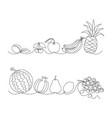 fruit border set vector image vector image
