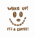 funny coffee bean face icon with lettering vector image vector image