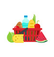 grocery food shopping basket vector image