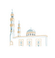 hand drawing sketch mosque in dubai united vector image vector image