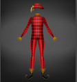 harlequin costume isolated on black background vector image vector image