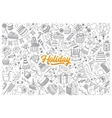 Holiday doodle set with lettering vector image vector image