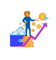 humanised lion character stand at top of coin pile vector image vector image
