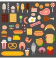 Icons of sweets fast food meat and fish vector image vector image
