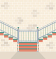 Interior Bricks Wall With Stairs vector image vector image