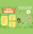 kids food menu design template vector image vector image