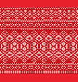 knitted jumper winter ornament design knitted red vector image vector image