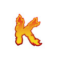 letter k fire flames font lettering tattoo vector image vector image