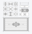 light gray geometrical tiles patterns set vector image