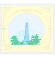 lighthouse seen from a tiny beach - vintage Poster vector image