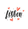 lisbon modern city hand written brush lettering vector image