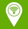 map pin pointer with wi fi symbol icon green vector image vector image