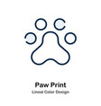 paw print line color icon vector image