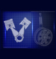 pistons and wheel with shock absorber on a blue vector image vector image