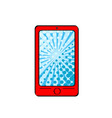 pop art red smart phone with dot screen for your vector image vector image