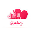 red heart and silhouette of seattle city paper vector image vector image