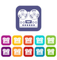 retro tape recorder icons set flat vector image vector image