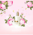 rose cosmetic label organic cosmetic and skin vector image
