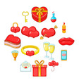 saint valentine day icons set cartoon style vector image