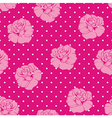 Seamless floral pink roses and dots pattern vector image