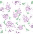 seamless lilac flowers pattern on white background vector image vector image