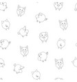 seamless pattern with cute cartoon small contour vector image vector image