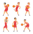 set basketball players vector image vector image