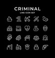 set line icons criminal vector image